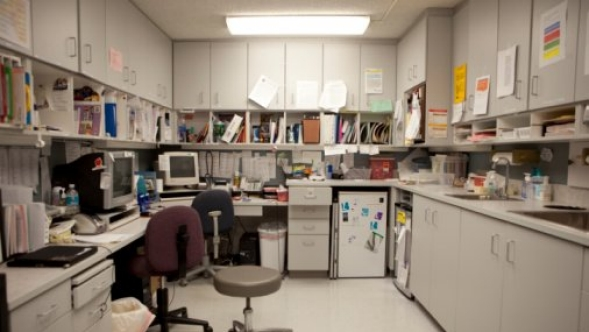 Medical office empty after work.