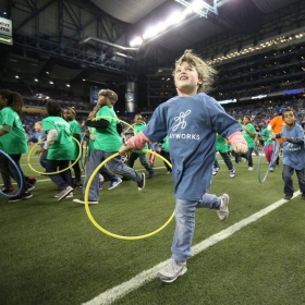 Playworks at Detoit Lions game during halftime
