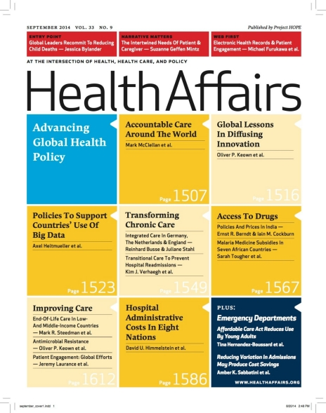 September 2014 Cover of the Health Affairs Journal.