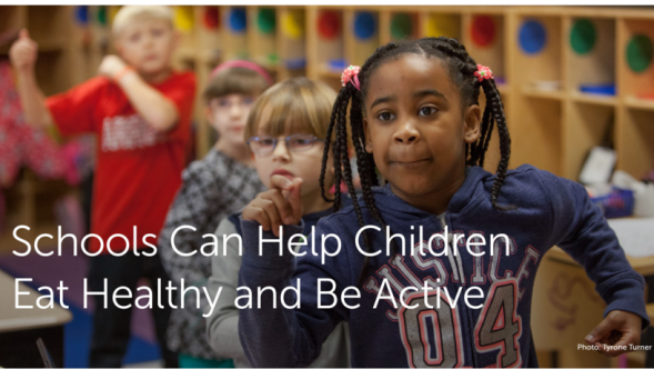Schools can help children eat healthy and be active, like these kids exercising at school.