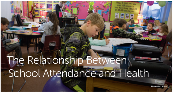 Header image for Health Policy brief The Relationship Between School Attendance and Health show students working in a classroom.