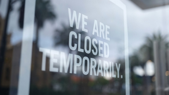 Store closed sign.