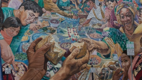 A mural in Cambridge, Mass., depicts a global view.
