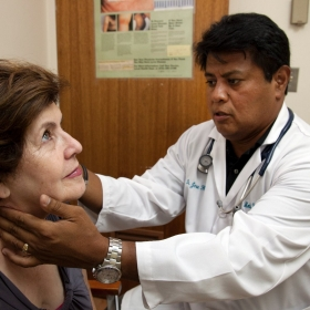 A doctor checks a patient's glands during a check up.